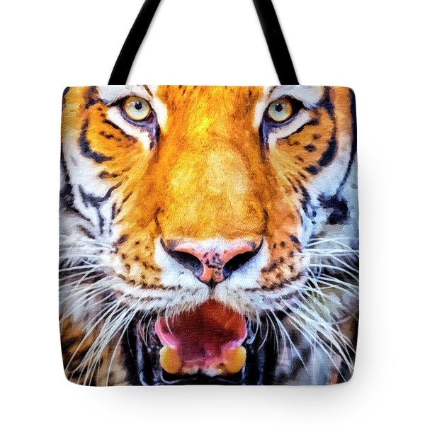 A Look Into The Tiger's Eyes Large Canvas Art, Canvas Print, Large Art, Large Wall Decor, Home Decor Tote Bag