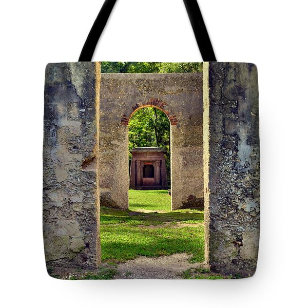 Tote Bag featuring the photograph A Look Through Chapel Of Ease St. Helena Island Beaufort Sc by Lisa Wooten