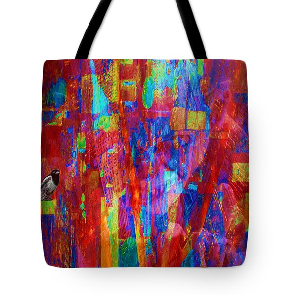 A Magpie At Wallstreet Tote Bag by Mojo Mendiola