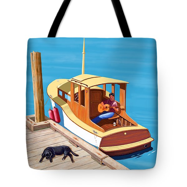 A Man, A Dog And An Old Boat Tote Bag