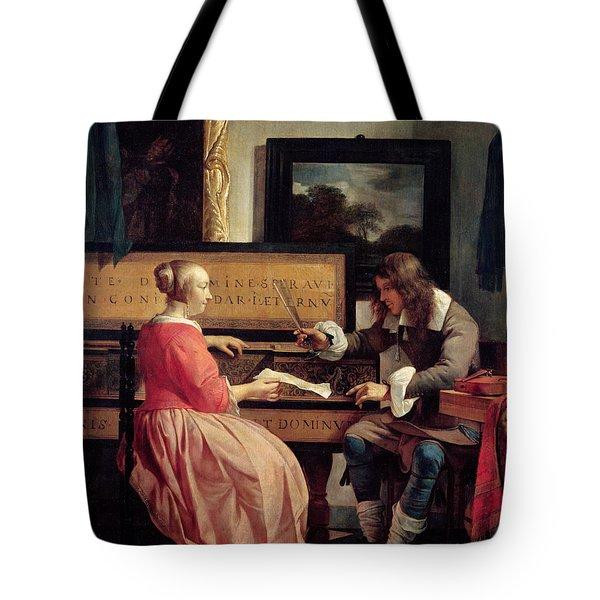 A Man And A Woman Seated By A Virginal Tote Bag by Gabriel Metsu