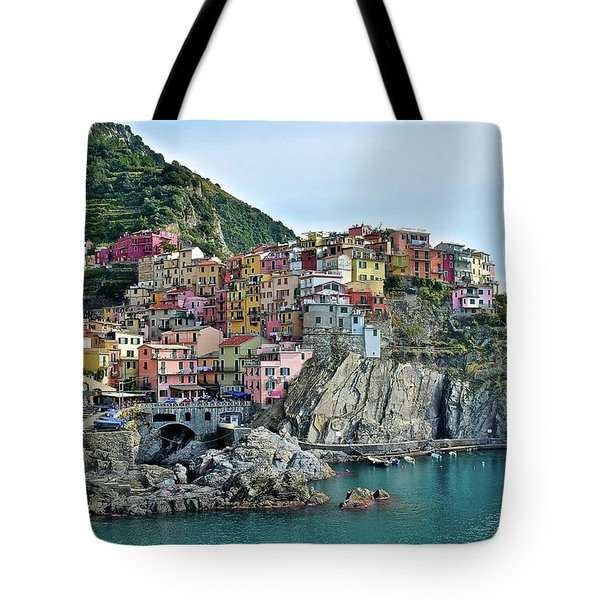 Tote Bag featuring the photograph A Manarola Morning by Frozen in Time Fine Art Photography