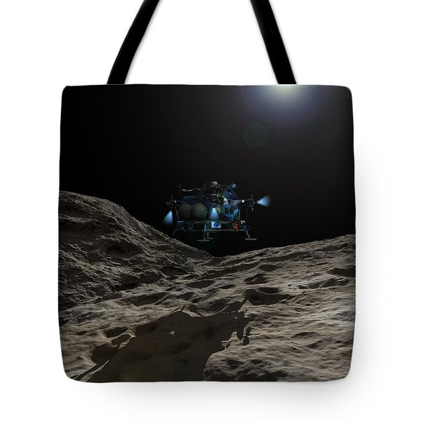 A Manned Asteroid Lander Approaches Tote Bag by Walter Myers