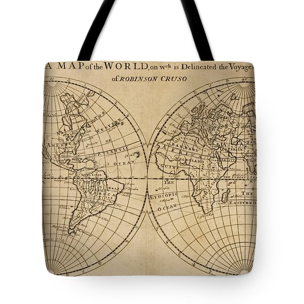 A Map Of The World On Which Is Delineated The Voyage Of Robinson Crusoe Tote Bag