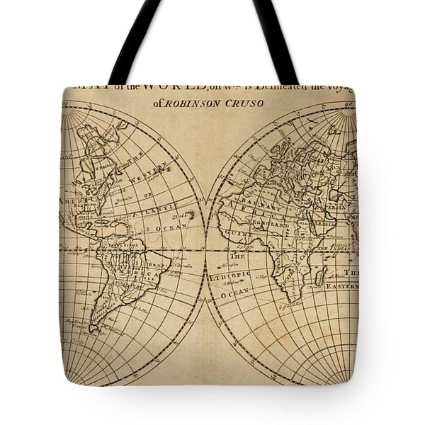 A Map Of The World With The Voyage Of Robinson Crusoe Tote Bag