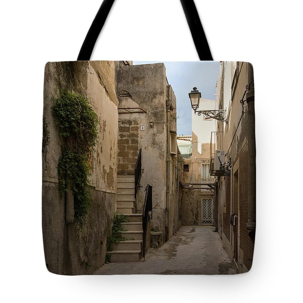 A Marble Staircase To Nowhere - Tiny Italian Lane In Syracuse Sicily Tote Bag