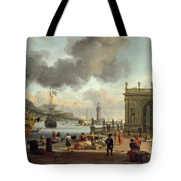 A Mediterranean Harbour Scene   Tote Bag by Abraham Storck