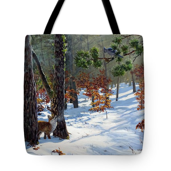 A Meeting In The Woods Tote Bag