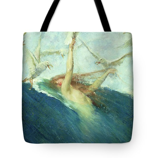 A Mermaid Being Mobbed By Seagulls Tote Bag