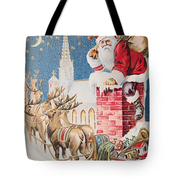 A Merry Christmas Vintage Greetings From Santa Claus And His Raindeer Tote Bag by R Muirhead Art