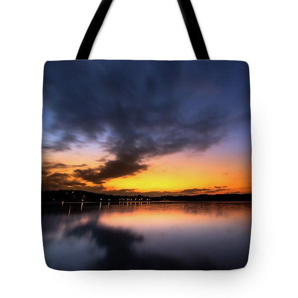 Tote Bag featuring the photograph A Misty Sunset On Lake Lanier by Bernd Laeschke