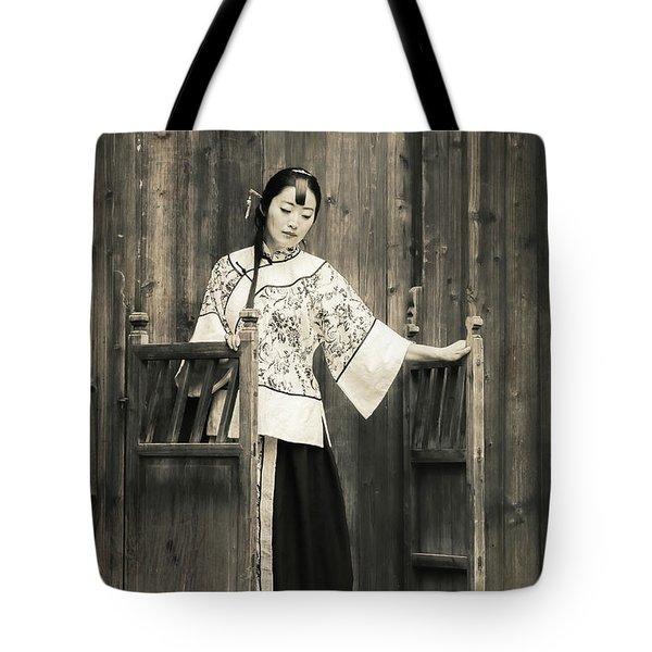 A Model In A Period Costume. Tote Bag