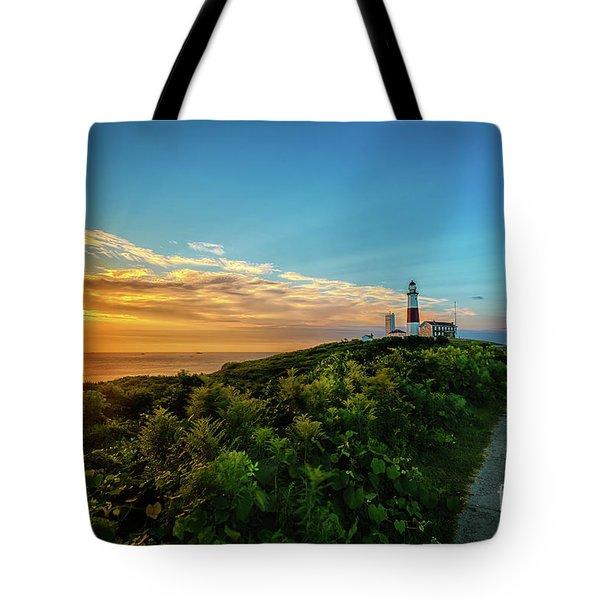 A Montauk Lighthouse Sunrise Tote Bag