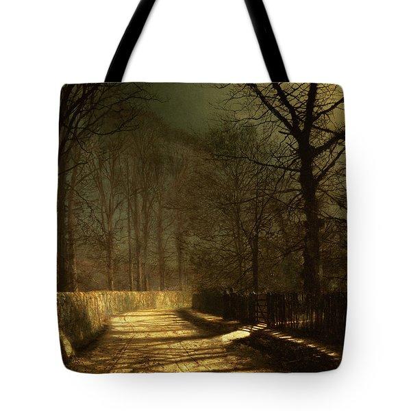 A Moonlit Lane Tote Bag by John Atkinson Grimshaw