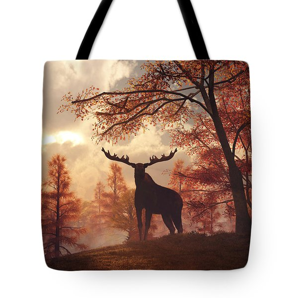 Tote Bag featuring the digital art A Moose In Fall by Daniel Eskridge