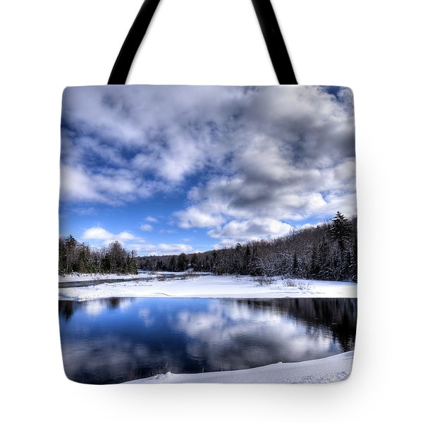 Tote Bag featuring the photograph A Moose River Snowscape by David Patterson