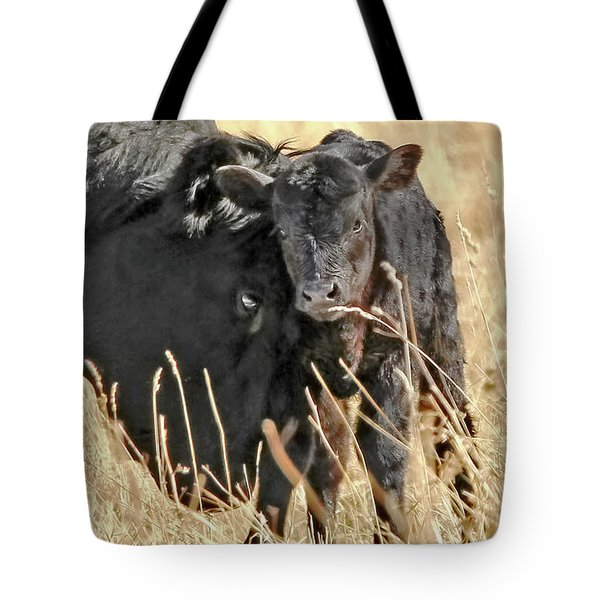 A Mother's Love Black Cow And Calf Tote Bag by Jennie Marie Schell