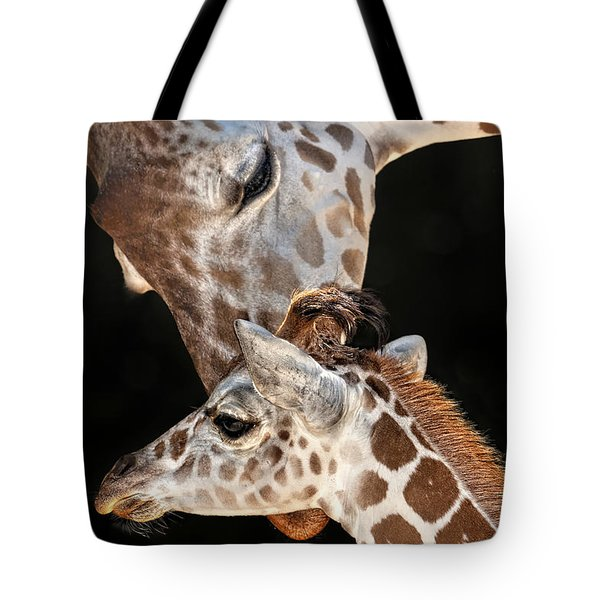 Tote Bag featuring the photograph A Mother Giragge's Love by Ken Barrett