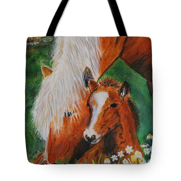 Tote Bag featuring the painting A Mothers Love by Leslie Allen