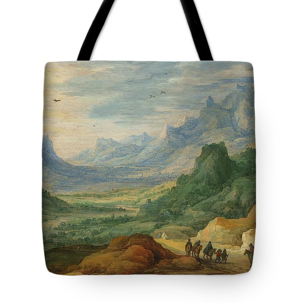 A Mountainous Landscape With Travellers And Herdsmen On A Path Tote Bag by Jan Brueghel and Joos de Momper