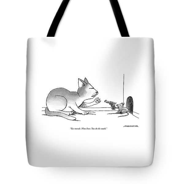 A Mouse Is In Front Of A Mouse Hole Pointing Tote Bag