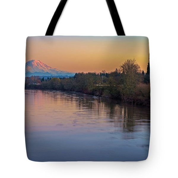 A Mt Tahoma Sunset Tote Bag by Ken Stanback