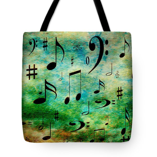 Tote Bag featuring the digital art A Musical Storm 2 by Andee Design