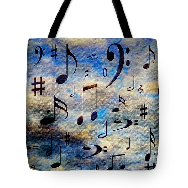 Tote Bag featuring the digital art A Musical Storm 3 by Andee Design