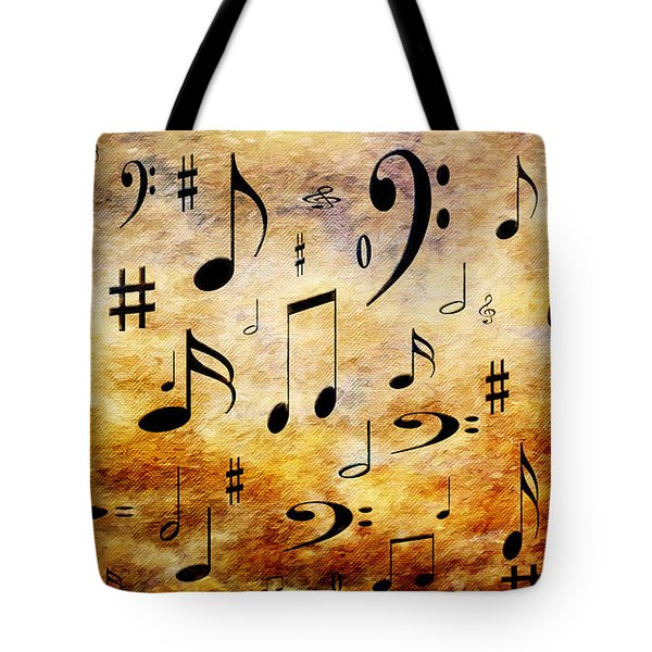 Tote Bag featuring the digital art A Musical Storm by Andee Design