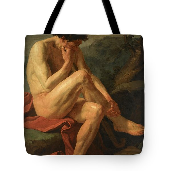A Naked Man Sitting In A Landscape Tote Bag