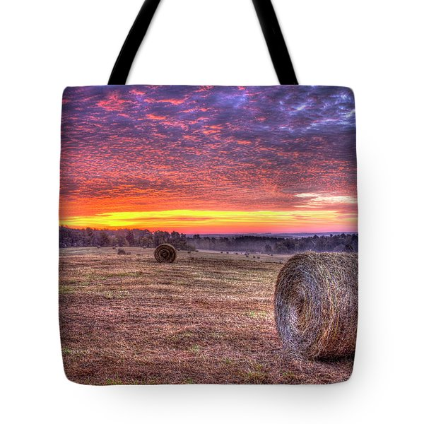 Tote Bag featuring the photograph Before A New Day Georgia Hayfield Sunrise Art by Reid Callaway