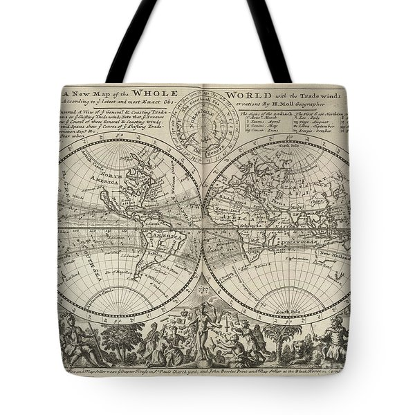 A New Map Of The Whole World With Trade Winds Herman Moll 1732 Tote Bag
