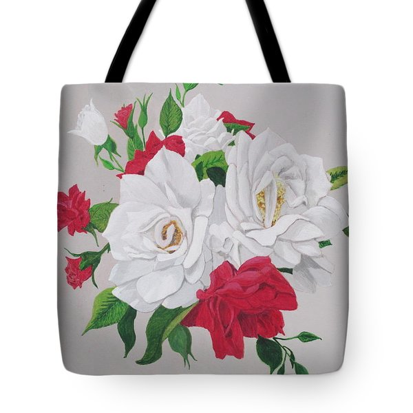 A New Rose Bouquet Tote Bag by Hilda and Jose Garrancho