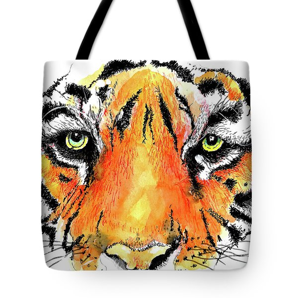 Tote Bag featuring the painting A Nice Tiger by Terry Banderas