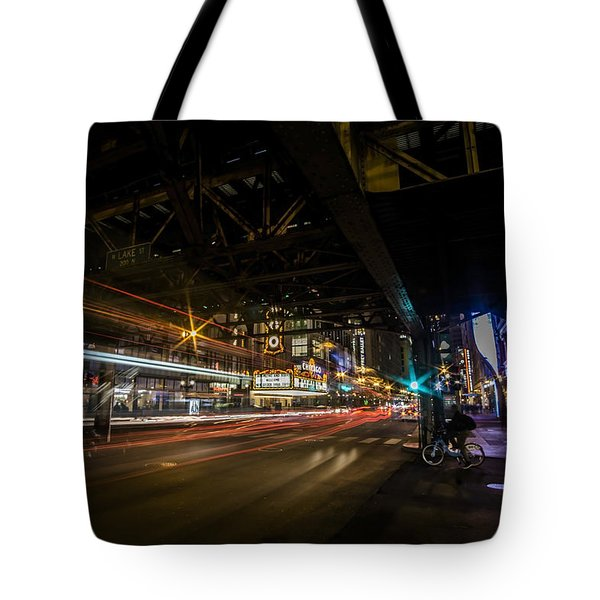 a nighttime look at Chicago's busy State and Lake Intersection Tote Bag
