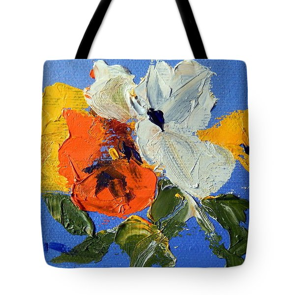 A Nudge Of Pansies Tote Bag by Ron Wilson