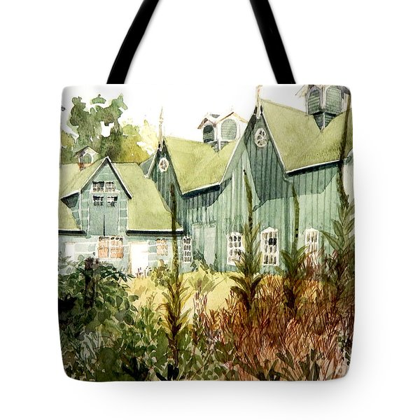 Watercolor Of An Old Wooden Barn Painted Green With Silo In The Sun Tote Bag