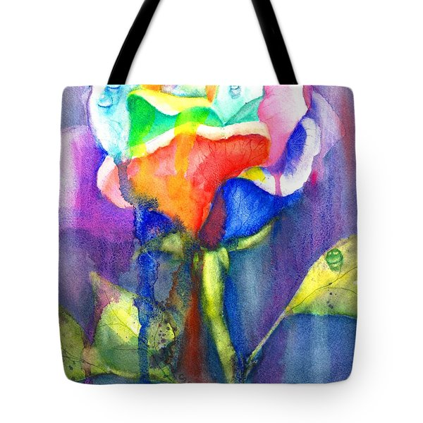A Painted Rose In The Rain Tote Bag