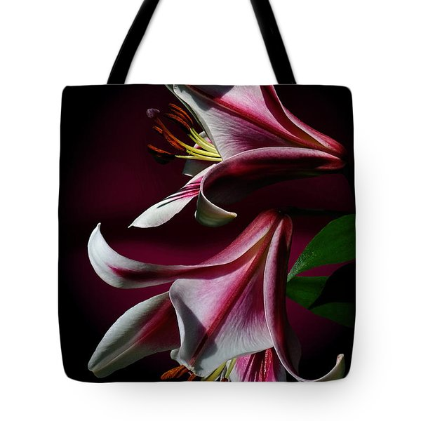 Tote Bag featuring the photograph A Pair Of Lilies by Judy  Johnson