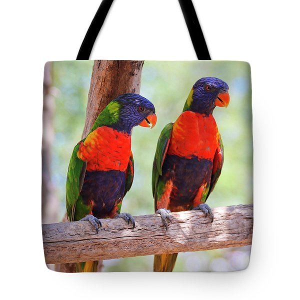 A Pair Of Rainbow Lorikeets On A Branch Tote Bag