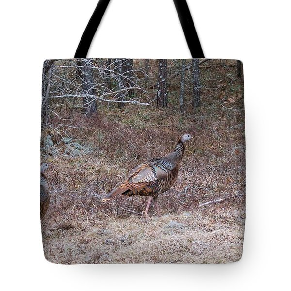 Tote Bag featuring the photograph A Pair Of Turkeys 1152 by Michael Peychich
