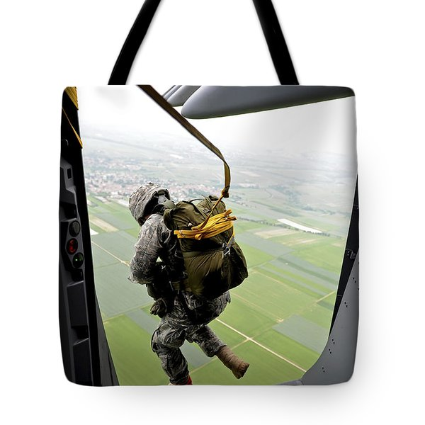 A Paratrooper Executes An Airborne Jump Tote Bag