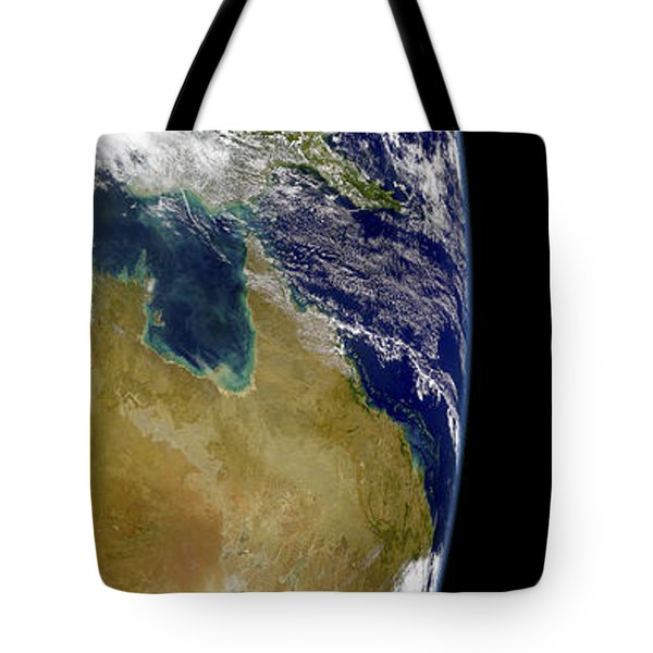 A Partial View Of Earth Showing Tote Bag by Stocktrek Images