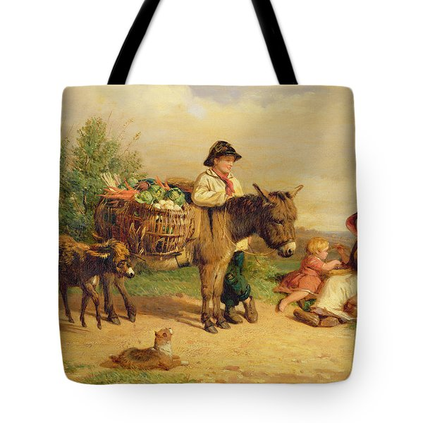A Pause On The Way To Market Tote Bag by J O Bank