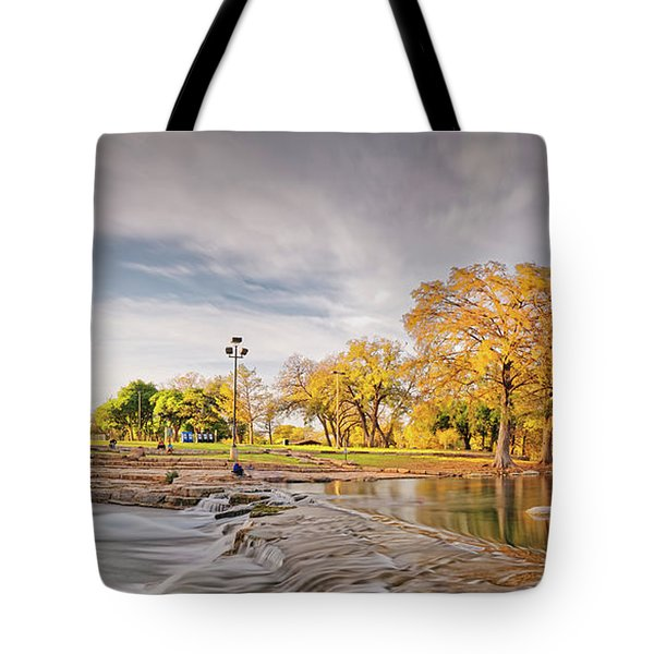 A Peaceful Fall Afternoon At Rio Vista Dam Park - San Marcos Hays County Texas Hill Country Tote Bag