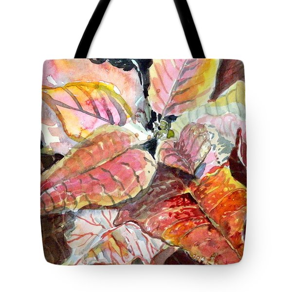 A Peach Of A Poinsettia Tote Bag by Mindy Newman