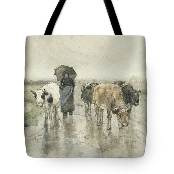 A Peasant Woman With Cows On A Country Lane In The Rain Tote Bag