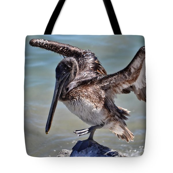 A Pelican Practising A Karate Kick Like Daniel In The Karate Kid Tote Bag