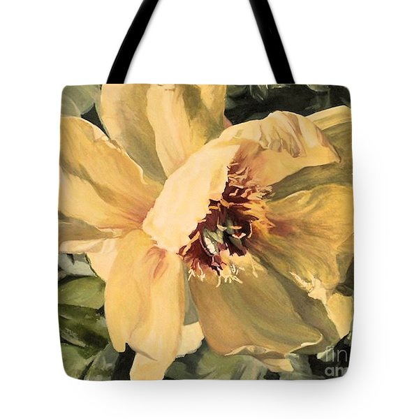 Tote Bag featuring the painting A Peony For Miggie by Laurie Rohner