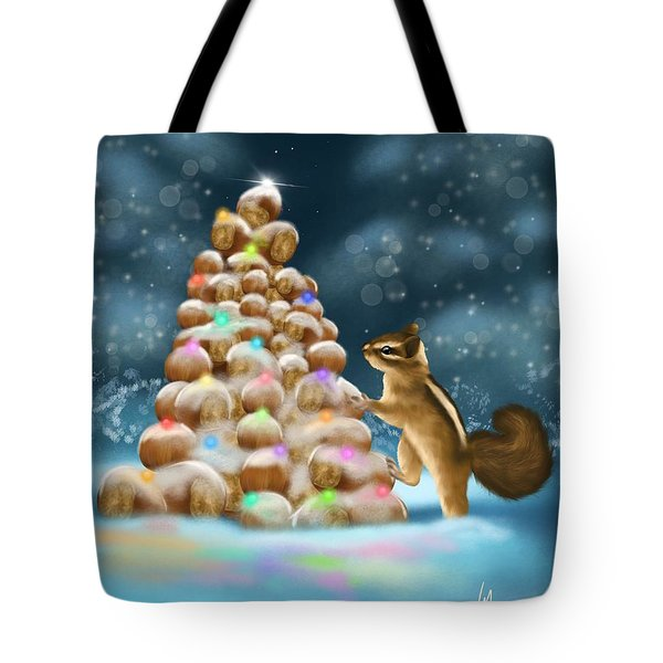 Tote Bag featuring the painting A Perfect Christmas Tree by Veronica Minozzi